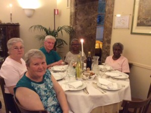 First night in Rome, Parishioners dining in the hotel