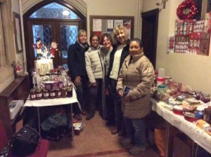 Some of our volunteers in the Porch who helped with the sales. Left to right: Hilary Funston, Jyoti Ramchand, Shahnaz Alfaioli, Maggie Kolecka and Emmie Gamalinda.