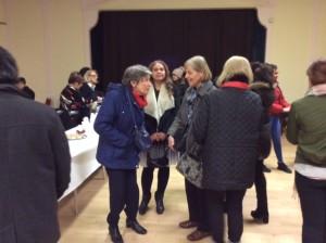 Pam McGrath chatting with Hilary Funston