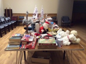 Christmas items for sale in the Parish Room