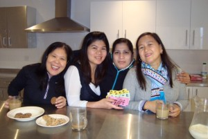 Our coffee morning volunteers - left to right: Vangie Bisnar, Me-Ann Tapleras, Sonia Marin and Rowena Ledesma