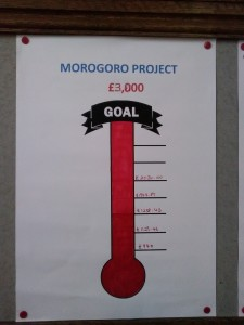 Thermometer showing complete goal of £3000