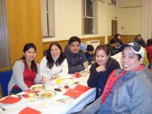 Left: Me-Ann Tapleras, Vangie Bisnar, Ron James. Right: Melissa and Medel Tapleras