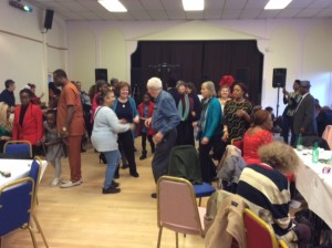 Parishioners dancing to African music