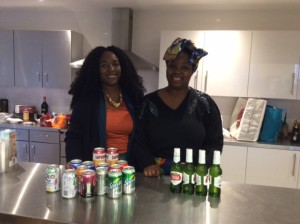 Ladies' behind the counter serving drinks