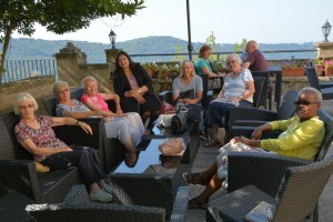 Relaxing at Villa Palazzola - The English College's Retreat & Pilgrimage Centre (where we stayed) overlooking Lake Albano
