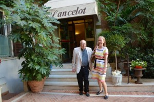 Retired Priest, Father John Helm with Ruth Hill outside our hotel in Rome (Lancelot)
